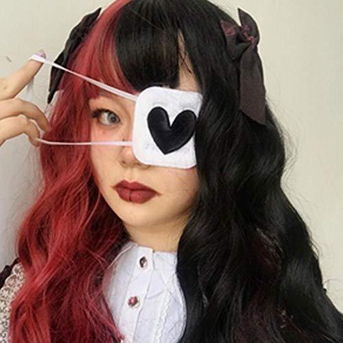 weichuang Schlafmaske für Damen und Herren, Augenklappe, Cosplay, Herzform, Stickerei, Einzelaugenmaske, Abdeckung aus Baumwolle