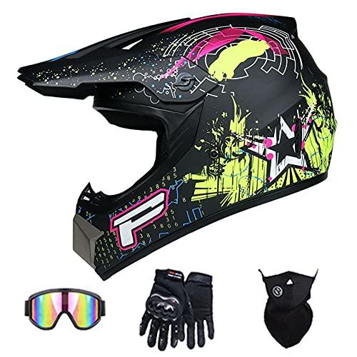 Casco Integral de Motocross para Adultos Certificado Dot Cascos Dirt Bikes de Moto DH Casco Backflip Casco de Motocicleta para ATV MX MTB Rally Off-Road Pit Bike (Estrella Negra Verde),57~58cm L
