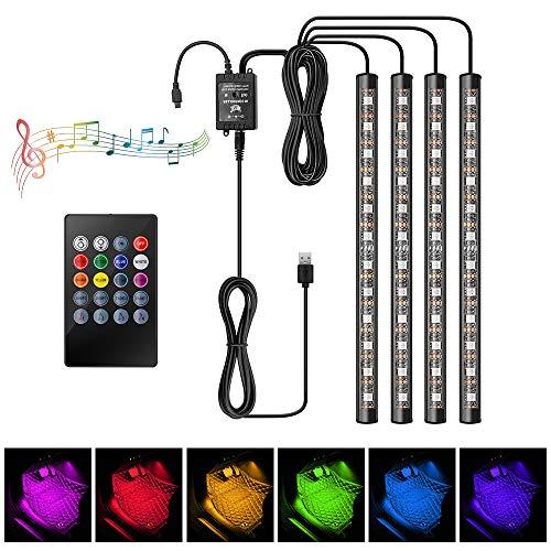 LED Innenbeleuchtung Auto, JoaSinc RGB Auto LED Fußraumbeleuchtung LED Atmosphäre Licht 8 Farben 48 LEDs Auto Streifen Licht Steuerbare mehrfarbig Musik Innenbeleuchtung mit USB-Port und Fernbedienung