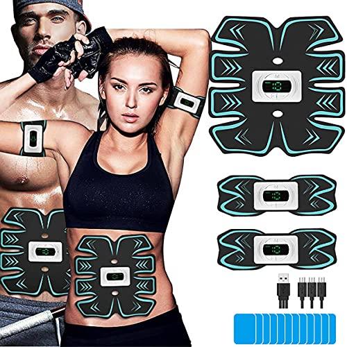Electroestimulador Muscular Abdominales con 6 Modos de Ejercicio,USB Carga Estimulador Muscular por Hombre y Mujer,15 Intensidades de Vibración, EMS Principio para Abdomen/Brazos/Glúteos/Piernas