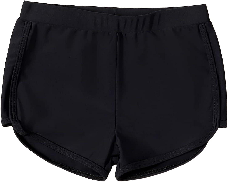 Romwe Girl's Swimming Boy Shorts Elastic Waist Quick Dry Beach Boardshorts