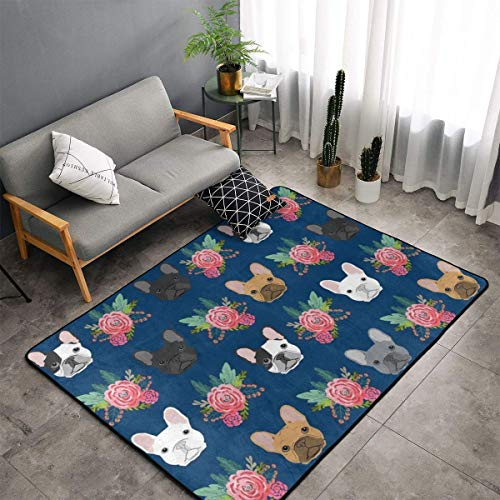 Premium Throw Rugs Carpet Door Mat - Indoor Thick French Bulldog Flowers Area Rugs for Living Room/Dormitory/Playroom/Bedroom/Laundry Room 60'X39'