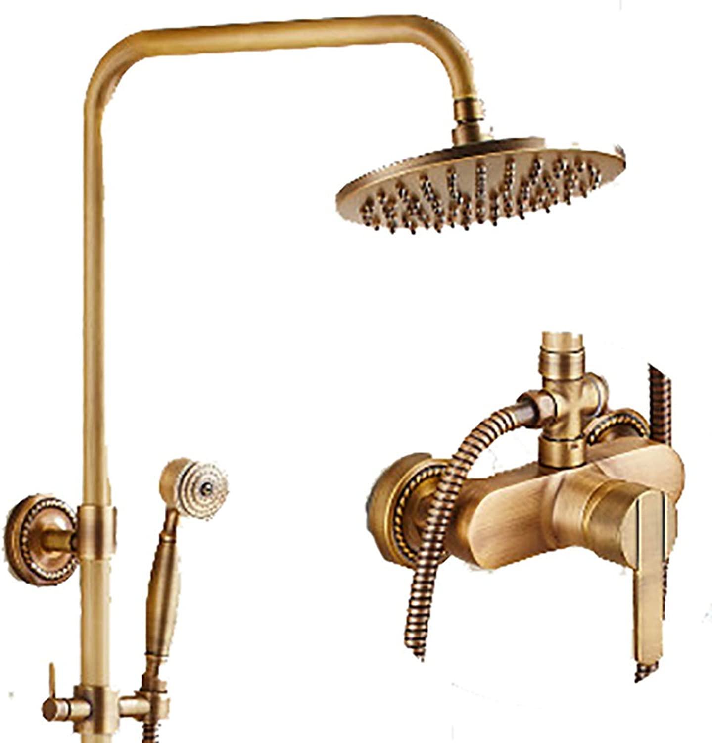 WYRSXPY Shower Bath Vintage Fashion Shower Set, Copper Material, Wall-mounted Family hotel Cold hot Faucet, 3-hole Inssizetion (color   Brass, Size   G)