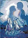 Pintura por números para adultos-amantes caballo blanco DIY pintura al óleo lienzo Kit pintado a mano obra de arte regalo de vacaciones decoración del hogar 40x50cm