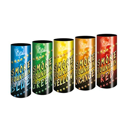5 Stück Color Mix Bengalo Rauch Vulkan Fontäne Party Feuerwerk Rauchfarbe blau grün orange gelb rot/Ganzjahresfeuerwerk Kat T1/ F1