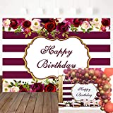 Mocsicka Burgundy Red Stripes Birthday Backdrop Floral Happy Birthday Photography Background 7X5ft Vinyl Women Birthday Party Decoration Backdrop Photo Booth Props