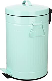 Mint Green Trash Can with Lid, Turquoise Bathroom Bedroom Waste Basket Soft Close, Small Teal Garbage Can, Retro Vintage Home Office Trash Can, 12 Liter/3 Gallon, Glossy Mint Green