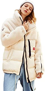 Women's Winter Jacket Plush Loose Warm Coat Natural Fluff Filling Trend New Outdoor Snow (Color : White, Size : S)