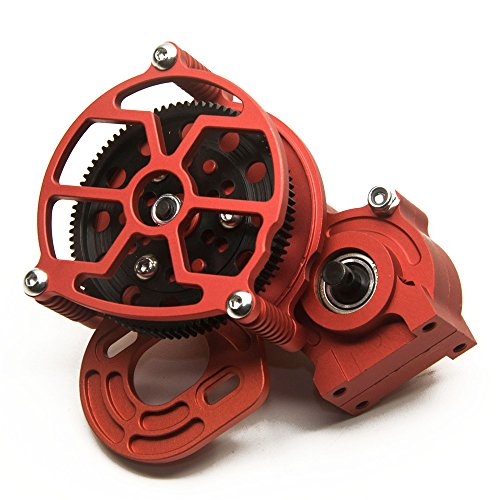MOHERO Aluminum Center Transmission Case/Gearbox with Straight Gear for 1/10 Axial SCX10 RC Model Crawler Car (Red)