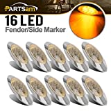 Partsam 10x 6.5 Led Marker Light 16LED Clear/Amber Chrome Replacement for Peterbilt 379, Oval Sealed Side Fender Cab Panel Roof Running Marker Lights Compatible with Kenworth/Freightliner
