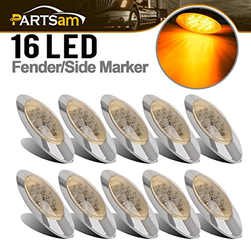 Partsam 10x 6.5 Led Marker Light 16LED Clear/Amber Chrome Replacement for Peterbilt 379, Oval Sealed Side Fender Cab Panel Roof Running Marker Clearance Lights Compatible with Kenworth/Freightliner