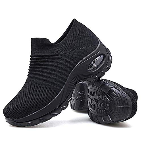 Tennis Shoes for Women Slip On Nursing Shoes Air Cushion Wedge Platform Loafers Lightweight Running Shoes Comfortable Walking Shoes Fashion All Black 4 UK
