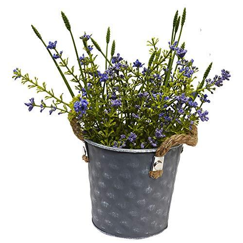 Hogar & Mas bloempot metaal vintage vorm kubus bloempot kunstbloemen paars patina wit verouderd, 23 x 10,5 x 12 cm