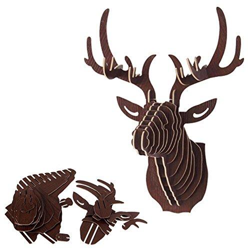 Fenteer 3D Modelo Ciervos Animales Escultura de Cabeza de Fauna de Pared de Madera Adornos Murales - 3