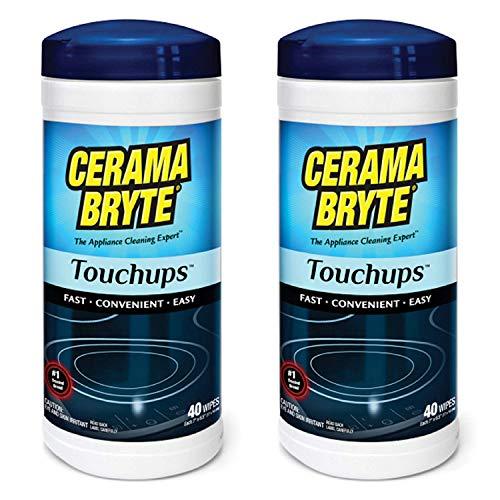 (2 Pack) Cerama Bryte Touchups Wipes Ceramic Cooktop Cleaner, 2 x 40-ct (Original Version)