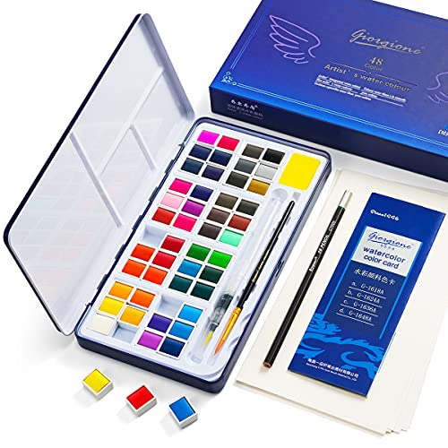 Watercolor Paint Set, 48 Color High Pigment Watercolor Paint, Vivid Color Cube, 2 Brush, Pencil, Mixing Palette, 8 Paper Sheet, Ideal for Kids, Beginner