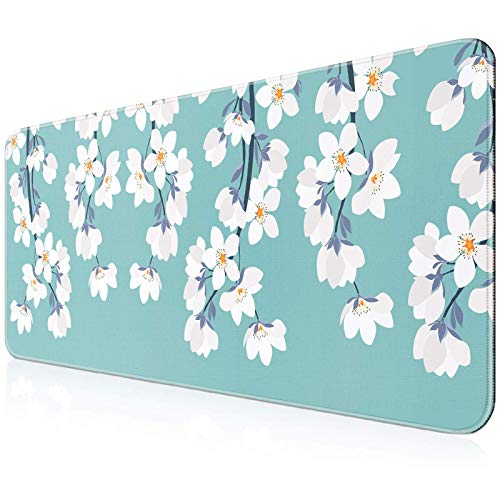 YOOMAS Extra Large Gaming Mouse Pad, Extended Protective Desk Mat Keyboard Pad Non-Slip Rubber Base with Stitched Edges & Floral Print for Game, Work, 11.81 x 31.5 inch, Windflower/White