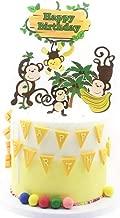 NN-BH Happy Birthday Cake Topper Birthday Party Cake Decoration Cartoon Monkey Picking Banana Cake Decoration