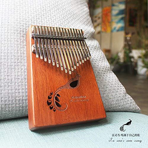 HAIHF Kalimba 17 sleutels, 17 tinten massief houten kaart limoenhout duimen Begonia