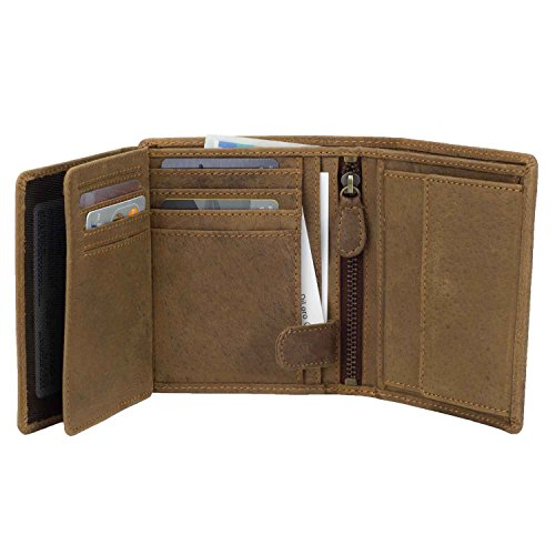 Mens Wallets by DiLoro Italy Fullsize Bifold Double Flip ID Leather Wallet Vertical Slots Coin and YKK Zip Compartment RFID Protection Hunter Brown 1809-BR