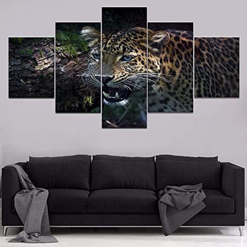 QMCVCDD 5 Piezas De Pared Fotos Cuadros En Lienzo Leopardo Animal HD Imprimir Modern Artwork Decoración De Arte De Pared Living Room -Enmarcado