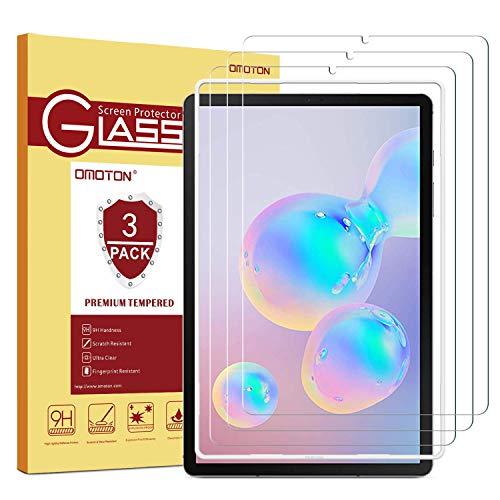 OMOTON [3 Stück] Panzerglasfolie für Samsung Galaxy Tab S6 & Galaxy Tab S5e mit Positionierhilfe, 9H Festigkeit, Anti-Kratzer, Anti-Bläschen, [10.5 Zoll] Samsung Tab S6/ Tab S5e Bildschirmschutz