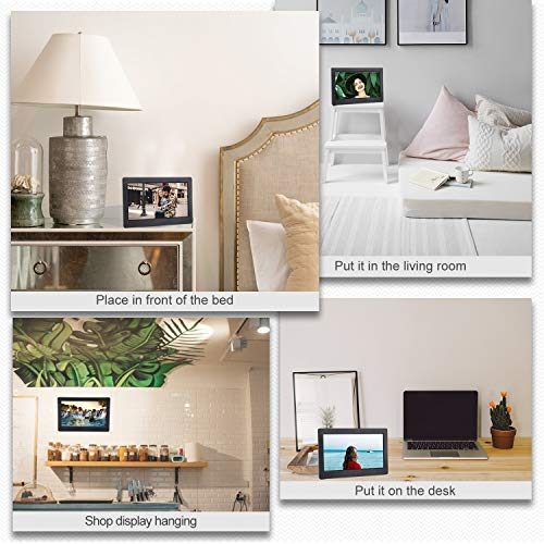 Digital Photo Frame 7 Inch 1280x800 16:9 IPS Widescreen Electronic Digital Picture Frame with Remote Control, Multifunction 1080p Video, Calendar, Slideshow, Background Music, Timing On/Off