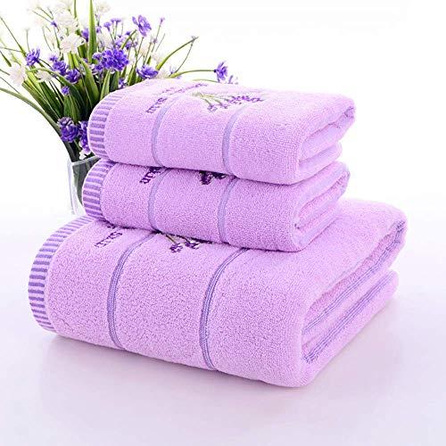 Satbuy Purple Lace Bath Towels Set Soft Hand Towels Cotton Face Towels 3 Pieces