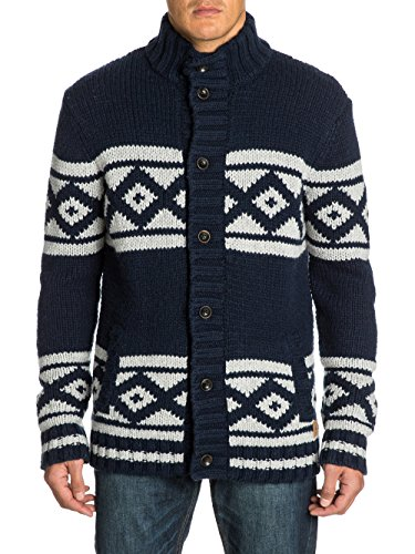 Quiksilver Budhi - Gilet - Col montant - Manches longues - Homme - Bleu (Navy Blazer) - Small (Taille fabricant: S)