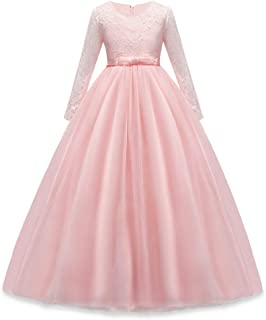 Girls Lace Pageant Party Dress Wedding Flower Girl Maxi Gowns Long Sleeve