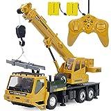 多機能クレーン ショベルカー 掘削機 RCブルドーザー 子供のおもちゃの車 建設車両おもちゃ ラジオコントロール 大きいサイズ (黄2)