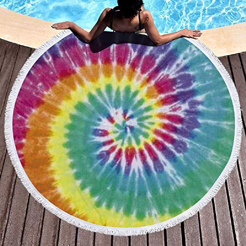 Round Beach Towel Tie Dye Print Beach Blanket Large Microfiber Shower Bath Towels Yoga Towel with Tassel,Ultra Soft Super Water Absorbent Multi-Purpose Beach Throw