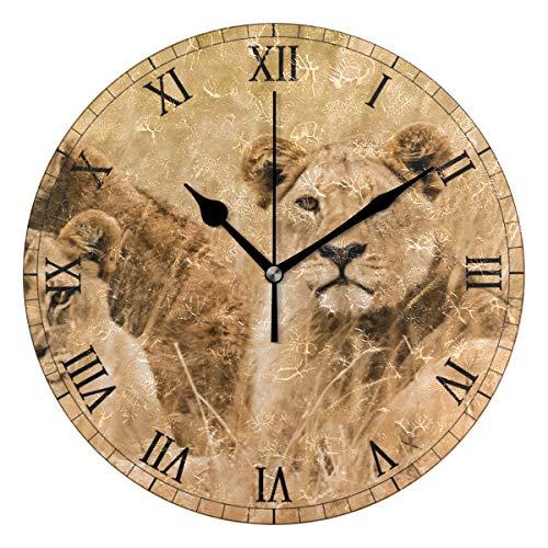 Ahomy Runde Wanduhr Afrikanischer Löwe Home Art Decor Antiticking Ziffern Uhr für Home Office 1 x AA Batterie (Nicht im Lieferumfang enthalten)