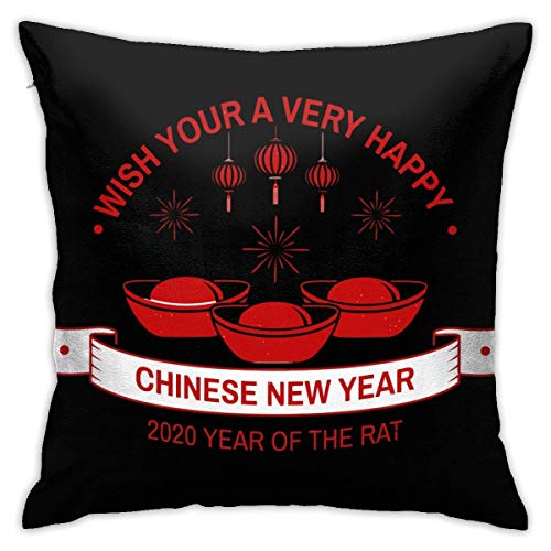 Throw Pillow Cover Cushion Cover Pillow Cases Decorative Linen Wash You A Happy Year for Home Bed Decor Pillowcase,45x45CM