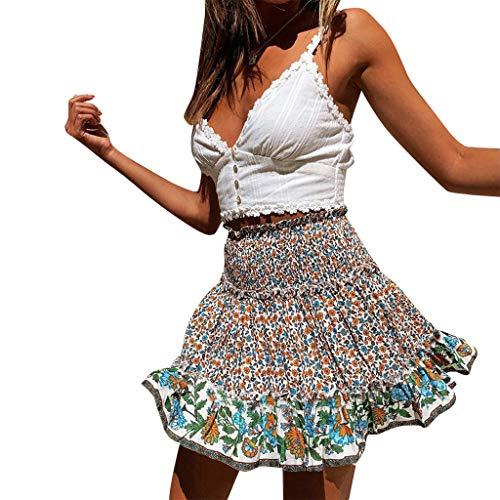 Sylar Faldas Cortas Mujer Minifalda Mujer Cintura Alta con Estampado de Flores Moda Falda a-línea Elegante Falda de Playa Verano Mujer Casual Bohemia