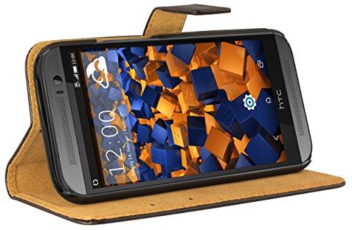 mumbi Echt Leder Bookstyle Hülle kompatibel mit HTC One (M8) Hülle Leder Tasche Hülle Wallet, schwarz