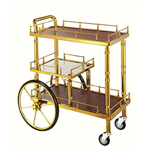 Stevig Stellingwagen Gold 3-tier stellingwagen for wijn en eten Hoogwaardige Exquisite stellingwagen Kitchen kar Hotel trolleys met grote banden verwijderbaar