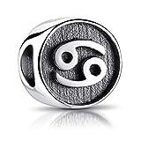 MATERIA Sternzeichen Krebs Anhänger Silber 925 - Beads Perle Charms für Armband oder Kette antik schwarz #585