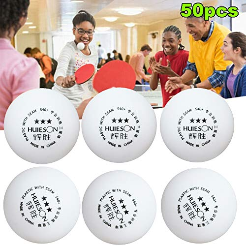 Palline da Ping-Pong da 50 Pezzi/Borsa, Palline da Ping Pong Bianche da Competizione a 3 Stelle S40 + Palline da Ping Pong da Ping Pong, Palline da Ping Pong Ideali per Bambini Adulti