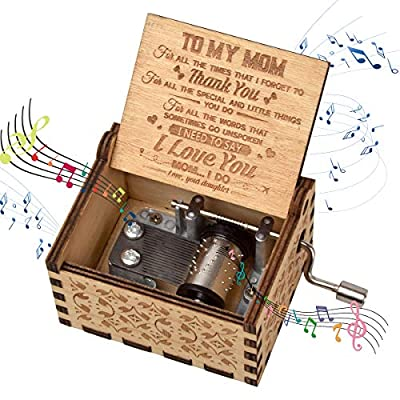 fezlens Wood Music Boxes You are My Sunshine Mum Antique Engraved Wooden Musical Box Gifts for Mother's Day/Birthday/Christmas/Valentine's Day/Thanksgiving Days Hand-Operated Present Kid Toys