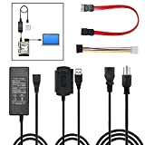 SATA PATA IDE Hard Drive to USB Adapter Converter Cable for Disk HDD SSD 2.5' 3.5' with AC Power Supply, Internal to External Laptop PC Mac File Data Transfer Reader Kit, Recovery Conversion Cord