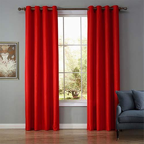 EXQULEG Cortina opaca de color sólido, con ojales para habitación infantil, salón, dormitorio, 1 pieza, rojo, 140 x 220 cm