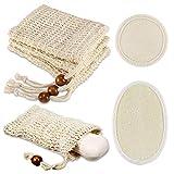 4 Stück Seifensäckchen + 2 Stück Abschminkpad, PAMIYO Sisal Seifensäckchen, Seifenbeute Natur,...