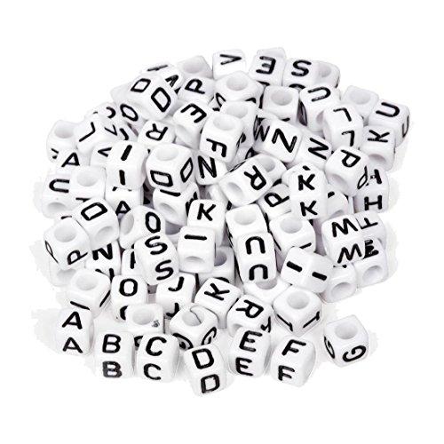 SODIAL(R) Buchstaben-Perlen, 100 Stueck, schwarz/Weiss, Loom bandz, Wuerfel, Armband