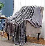 Throw Blankets Soft Fuzzy Warm, Fluffy Throw Blankets Couch Fleece, Throw Blankets Bed Cozy Machine Washable - Grey