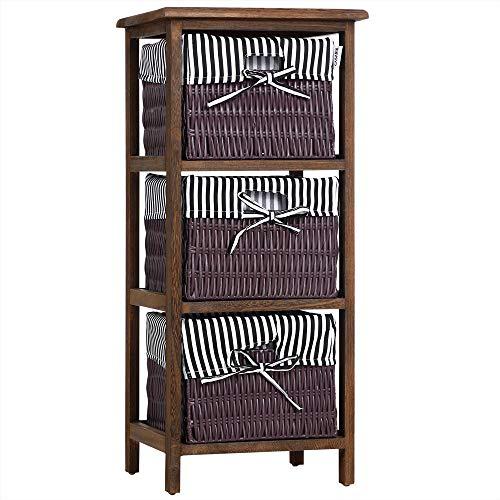 Casaria mobile da bagno con 3 cestelli stile rustico legno Paulownia per cucina armadio a colonna con cassetti a cesto Nero Marrone