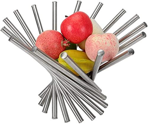 WUWEOT Obstkorb Metall Obstschale Edelstahl Belüftetes Faltbares Obstkorb Modern Design Dekorativer Obstschalen Silber Obstständer Platzsparend für Küche Esstisch Obst Gemüse Brot