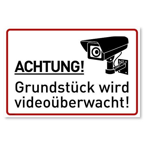 Achtung Videoüberwachung Schild (30x20 cm Kunststoff) - Warnschilder und Hinweisschilder - Videoüberwacht Schilder (Neue Cam)