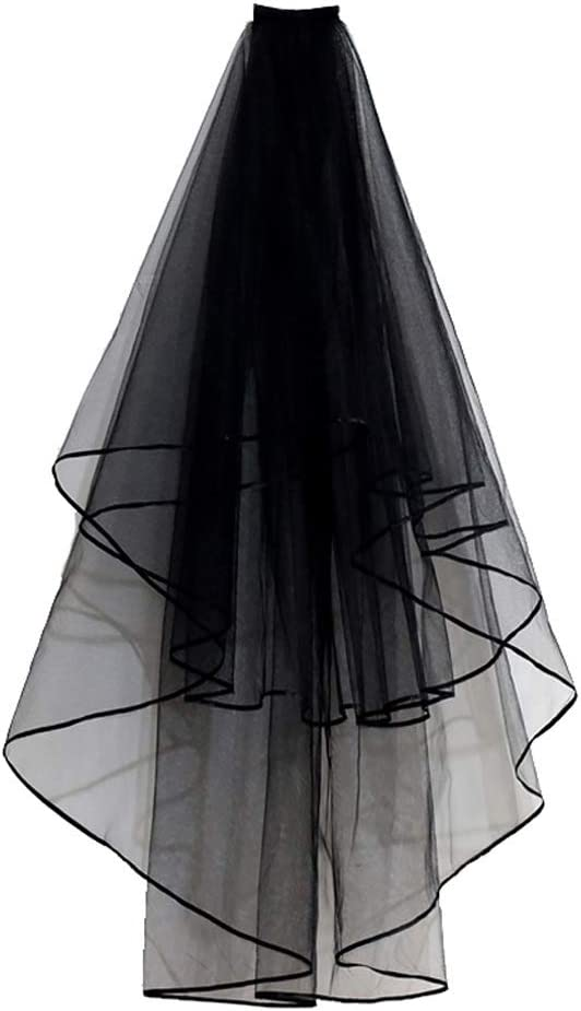 FKSDHDG Black Bridal Veils with Comb Two Layers Short Ribbon Edge Wedding Shoulder Veil Soft Tulle Women Costume Accessories