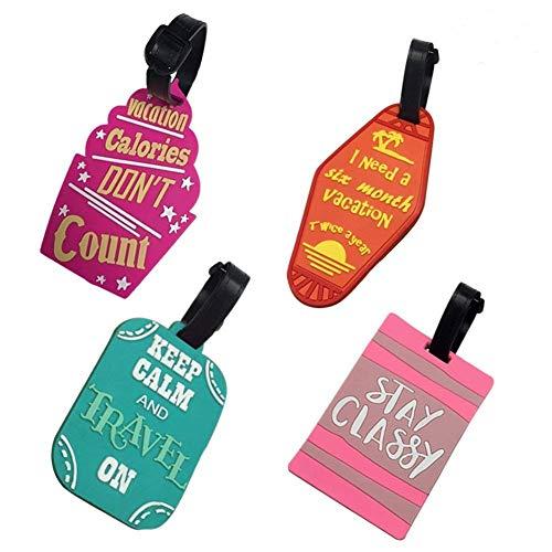 Gepäckanhänger Kofferanhänger süße Travel Luggage Tag Koffer Gepäckanhänger Lustig namensschild Kofferanhänger mit Adressschild Gepäckanhänger PVC 4 Pcs (C)